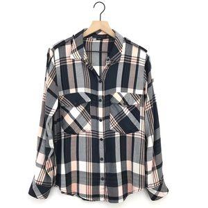 Sanctuary Plaid Snap Button Down Boyfriend Shirt
